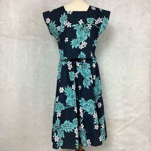 Vintage 80s 90 2 Piece Blue Hawaiian Top Skirt Set